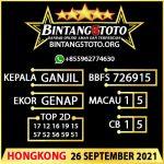Rumus Bintang5 Hongkong 26 September 2021